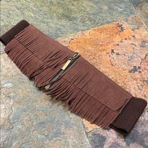 Accessories - Brown fringe belt with zipper detail
